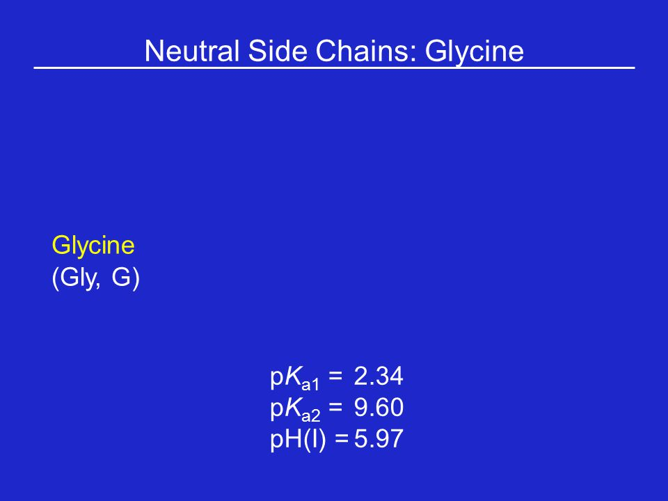 Neutral Side Chains: Glycine Glycine (Gly, G) pK a1 = 2.34 pK a2 =9.60 pH(I) =5.97