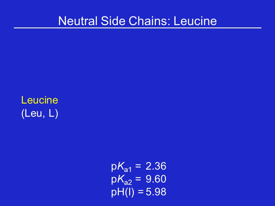 Neutral Side Chains: Leucine Leucine (Leu, L) pK a1 = 2.36 pK a2 =9.60 pH(I) =5.98
