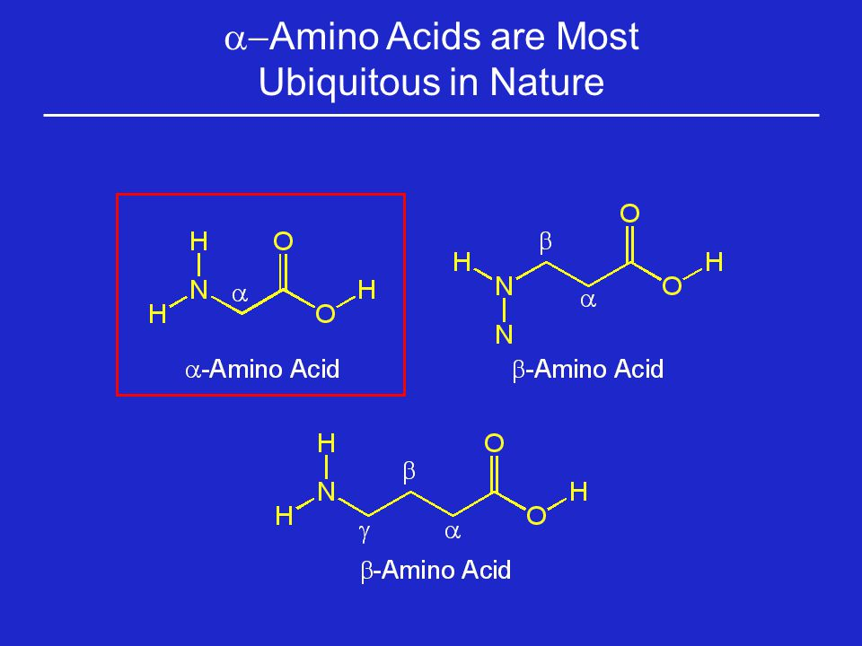 With the Exception of Glycine,  -Amino Acids are Chiral Molecules Glycine has no stereogenic center and is therefore achiral All Other A.A.s have a stereogenic center and are therefore chiral Non- superimposable isomers (enantiomers)
