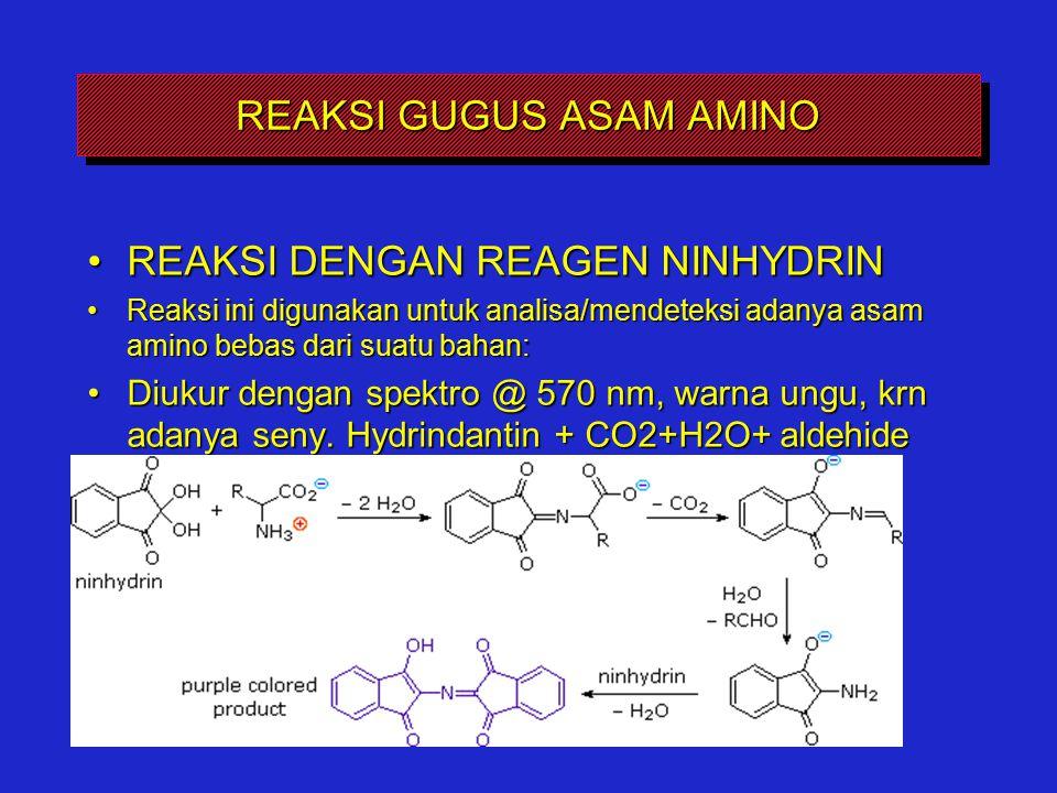 REAKSI GUGUS ASAM AMINO REAKSI DENGAN REAGEN NINHYDRINREAKSI DENGAN REAGEN NINHYDRIN Reaksi ini digunakan untuk analisa/mendeteksi adanya asam amino b
