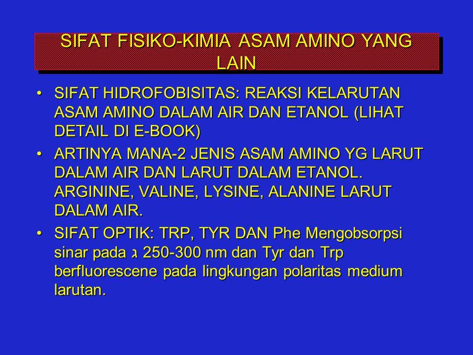 SIFAT FISIKO-KIMIA ASAM AMINO YANG LAIN SIFAT HIDROFOBISITAS: REAKSI KELARUTAN ASAM AMINO DALAM AIR DAN ETANOL (LIHAT DETAIL DI E-BOOK)SIFAT HIDROFOBI