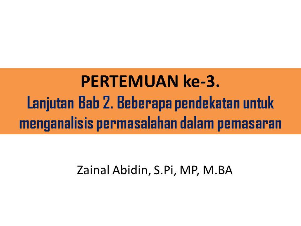 PERTEMUAN ke-3. Lanjutan Bab 2. Beberapa pendekatan untuk menganalisis permasalahan dalam pemasaran Zainal Abidin, S.Pi, MP, M.BA