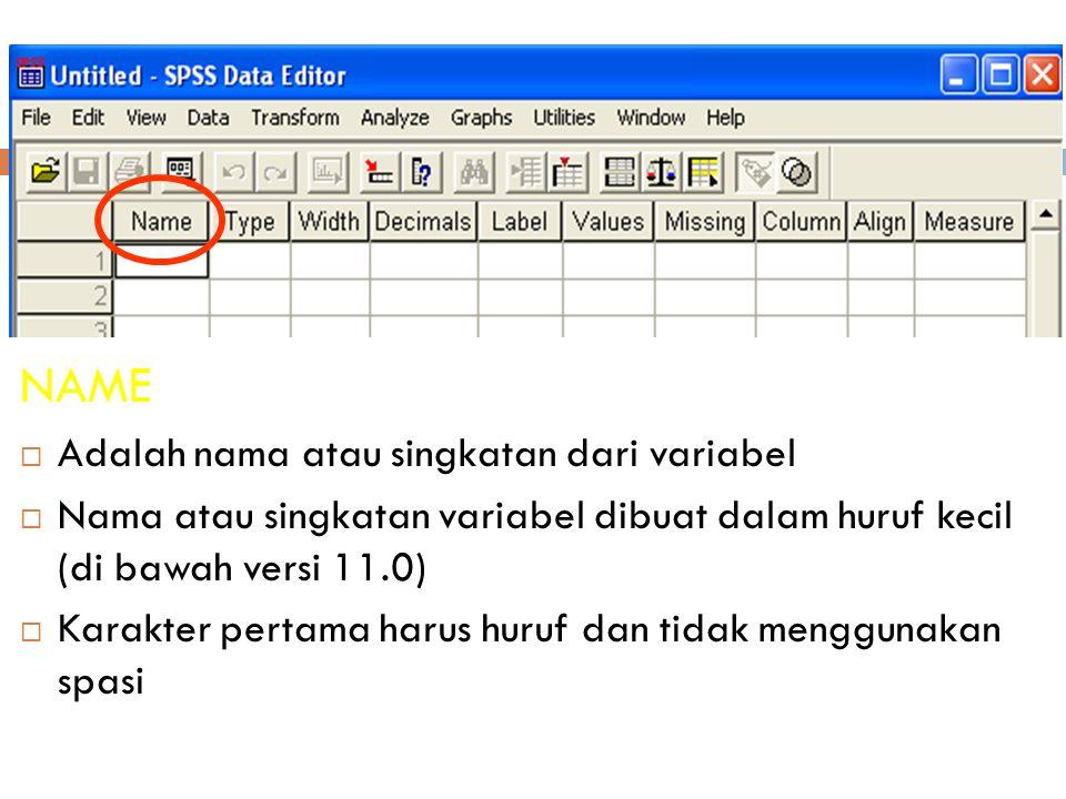 15 NAME  Adalah nama atau singkatan dari variabel  Nama atau singkatan variabel dibuat dalam huruf kecil (di bawah versi 11.0)  Karakter pertama harus huruf dan tidak menggunakan spasi