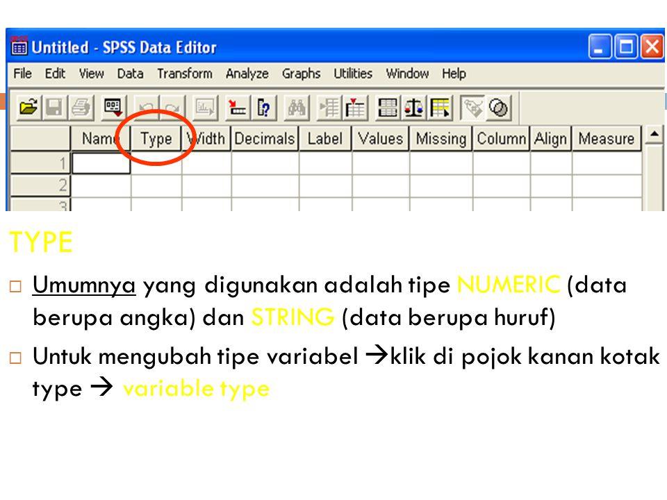 16 TYPE  Umumnya yang digunakan adalah tipe NUMERIC (data berupa angka) dan STRING (data berupa huruf)  Untuk mengubah tipe variabel  klik di pojok kanan kotak type  variable type