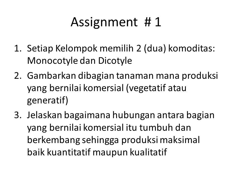 Assignment # 1 1.Setiap Kelompok memilih 2 (dua) komoditas: Monocotyle dan Dicotyle 2.Gambarkan dibagian tanaman mana produksi yang bernilai komersial (vegetatif atau generatif) 3.Jelaskan bagaimana hubungan antara bagian yang bernilai komersial itu tumbuh dan berkembang sehingga produksi maksimal baik kuantitatif maupun kualitatif