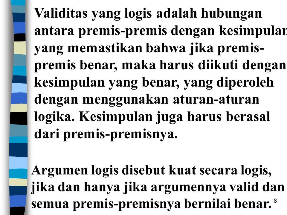 8 Validitas yang logis adalah hubungan antara premis-premis dengan kesimpulan yang memastikan bahwa jika premis- premis benar, maka harus diikuti dengan kesimpulan yang benar, yang diperoleh dengan menggunakan aturan-aturan logika.