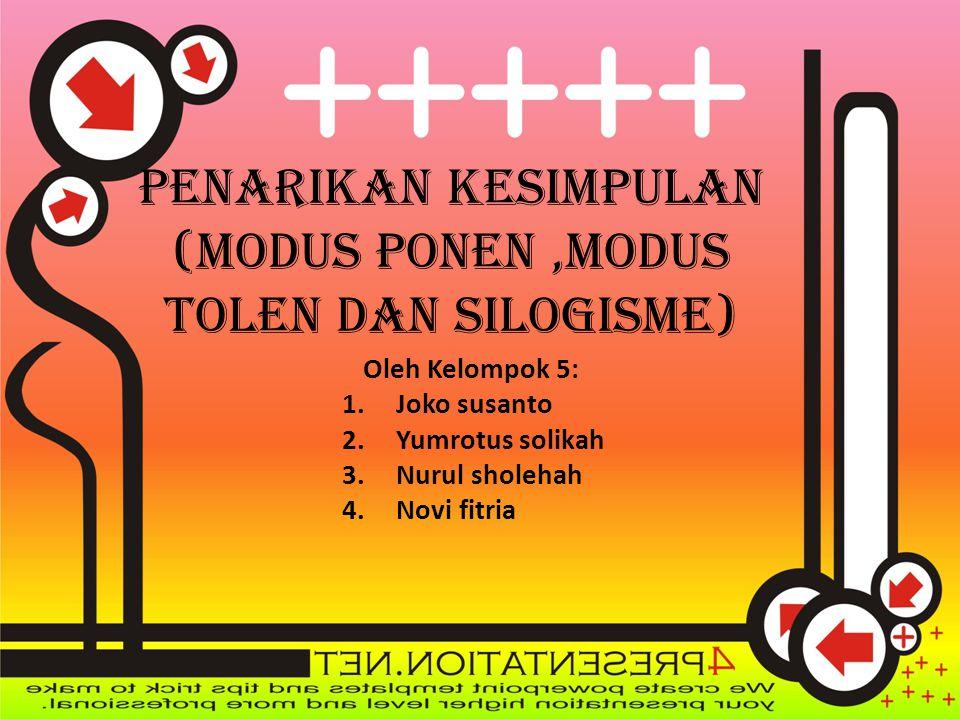 Contoh : 1)Jika Bogor hujan maka sungai Ciliwung meluap Jika sungai Ciliwung meluap maka Jakarta banjir ∴ Jadi Jika Bogor hujan maka Jakarta banjir 2) Periksalah sah atau tidaknya argumentasi berikut ini .