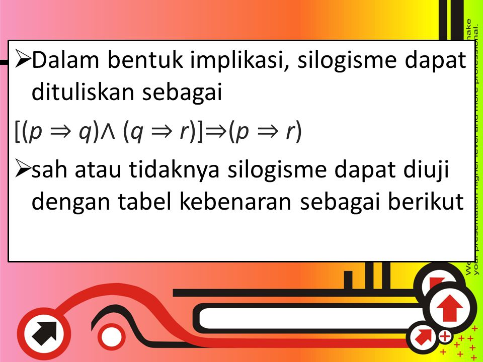  Dalam bentuk implikasi, silogisme dapat dituliskan sebagai [(p ⇒ q) ∧ (q ⇒ r)] ⇒ (p ⇒ r)  sah atau tidaknya silogisme dapat diuji dengan tabel kebenaran sebagai berikut.