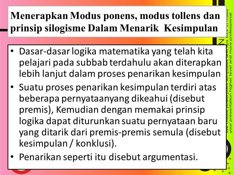 1.Modus Ponens Jika p ⇒ q benar dan p benar maka q benar.