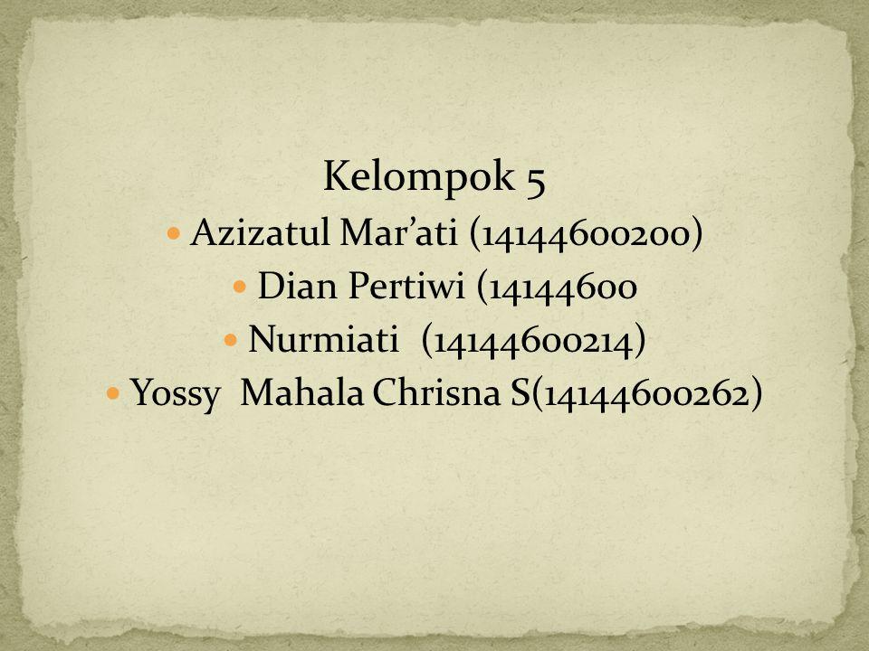 Kelompok 5 Azizatul Mar'ati (14144600200) Dian Pertiwi (14144600 Nurmiati (14144600214) Yossy Mahala Chrisna S(14144600262)