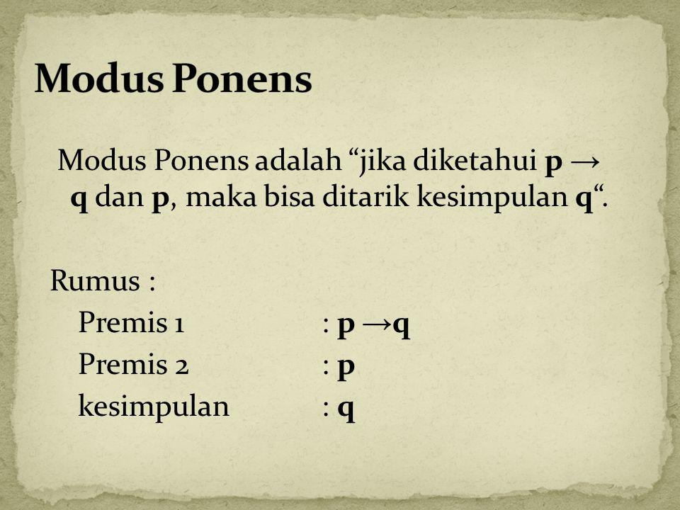 Modus Ponens adalah jika diketahui p → q dan p, maka bisa ditarik kesimpulan q .