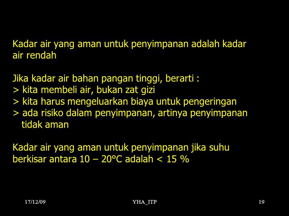 YHA_ITP19 Kadar air yang aman untuk penyimpanan adalah kadar air rendah Jika kadar air bahan pangan tinggi, berarti : > kita membeli air, bukan zat gizi > kita harus mengeluarkan biaya untuk pengeringan > ada risiko dalam penyimpanan, artinya penyimpanan tidak aman Kadar air yang aman untuk penyimpanan jika suhu berkisar antara 10 – 20°C adalah < 15 % 17/12/09