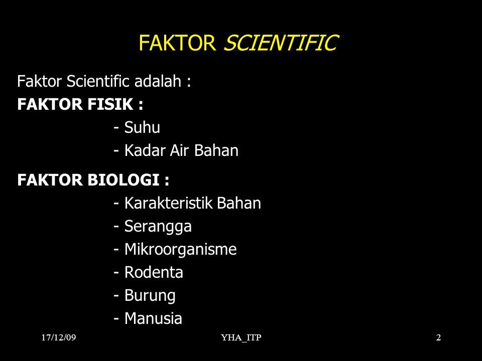 YHA_ITP2 FAKTOR SCIENTIFIC Faktor Scientific adalah : FAKTOR FISIK : - Suhu - Kadar Air Bahan FAKTOR BIOLOGI : - Karakteristik Bahan - Serangga - Mikroorganisme - Rodenta - Burung - Manusia 17/12/09