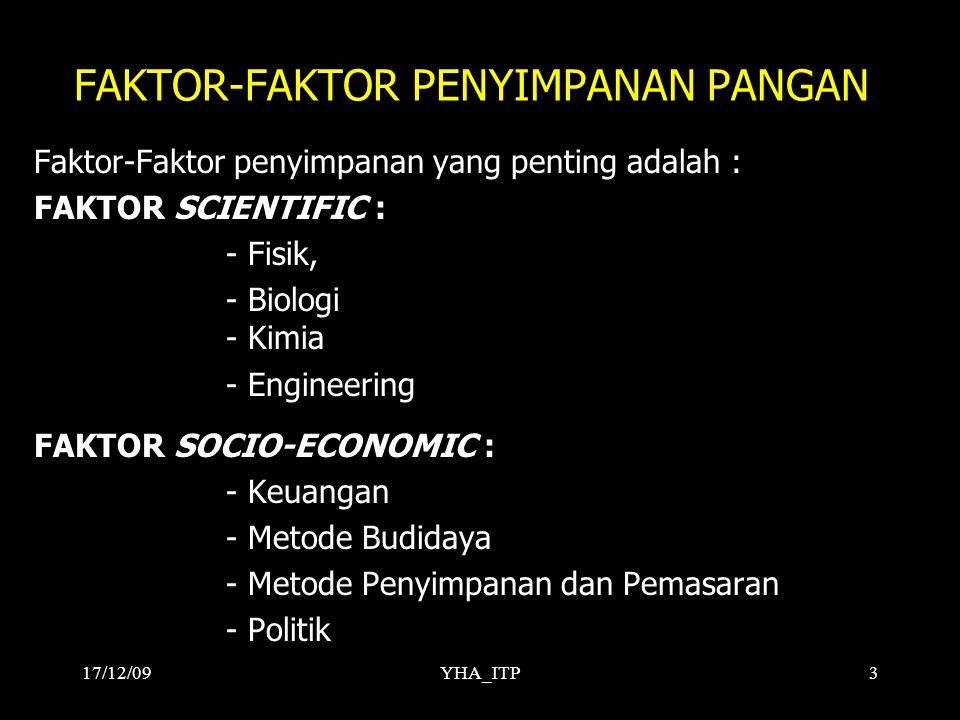 YHA_ITP3 FAKTOR-FAKTOR PENYIMPANAN PANGAN Faktor-Faktor penyimpanan yang penting adalah : FAKTOR SCIENTIFIC : - Fisik, - Biologi - Kimia - Engineering FAKTOR SOCIO-ECONOMIC : - Keuangan - Metode Budidaya - Metode Penyimpanan dan Pemasaran - Politik 17/12/09
