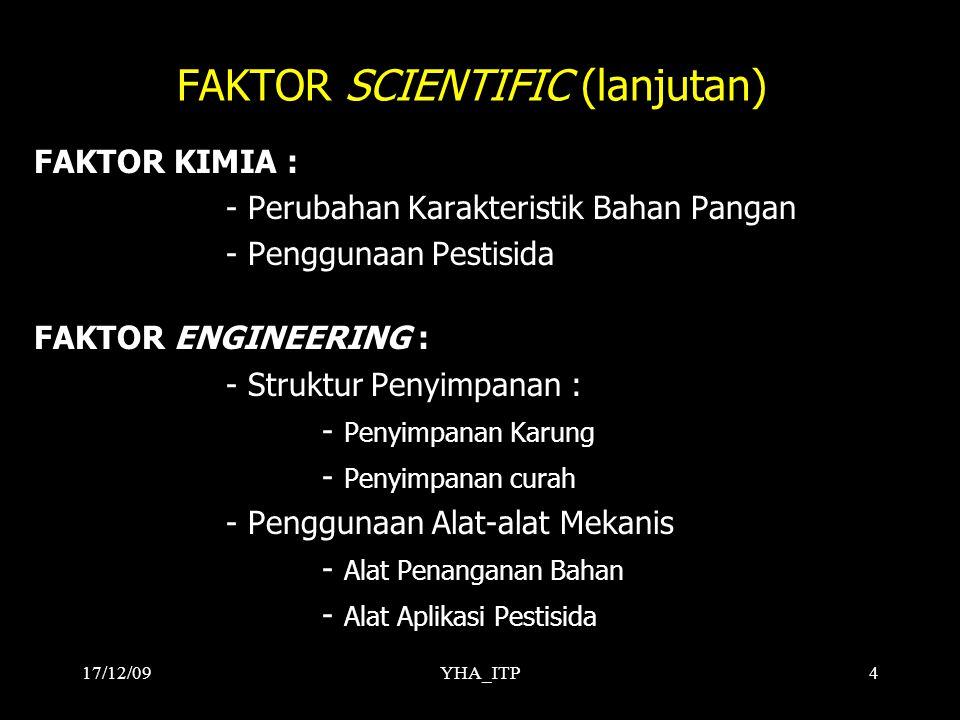 YHA_ITP4 FAKTOR SCIENTIFIC (lanjutan) FAKTOR KIMIA : - Perubahan Karakteristik Bahan Pangan - Penggunaan Pestisida FAKTOR ENGINEERING : - Struktur Pen