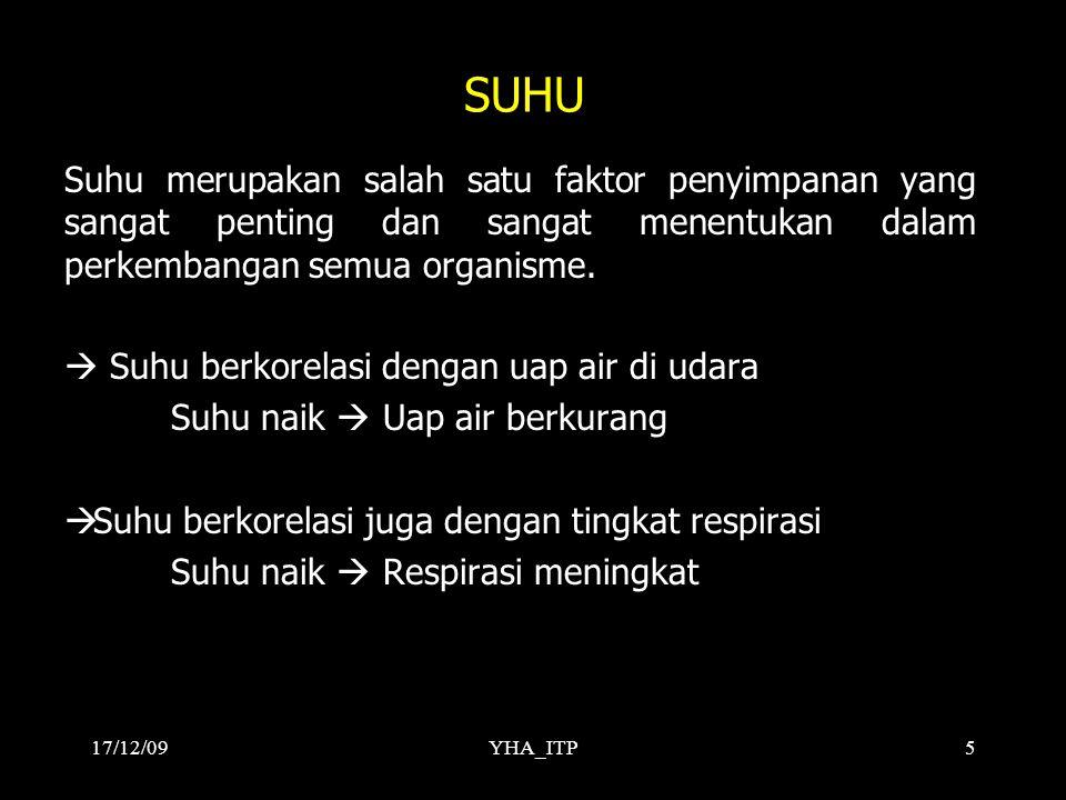 YHA_ITP5 SUHU Suhu merupakan salah satu faktor penyimpanan yang sangat penting dan sangat menentukan dalam perkembangan semua organisme.  Suhu berkor