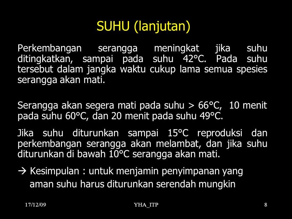 YHA_ITP8 SUHU (lanjutan) Perkembangan serangga meningkat jika suhu ditingkatkan, sampai pada suhu 42°C. Pada suhu tersebut dalam jangka waktu cukup la