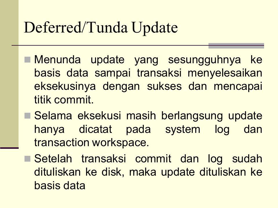 Menunda update yang sesungguhnya ke basis data sampai transaksi menyelesaikan eksekusinya dengan sukses dan mencapai titik commit. Selama eksekusi mas