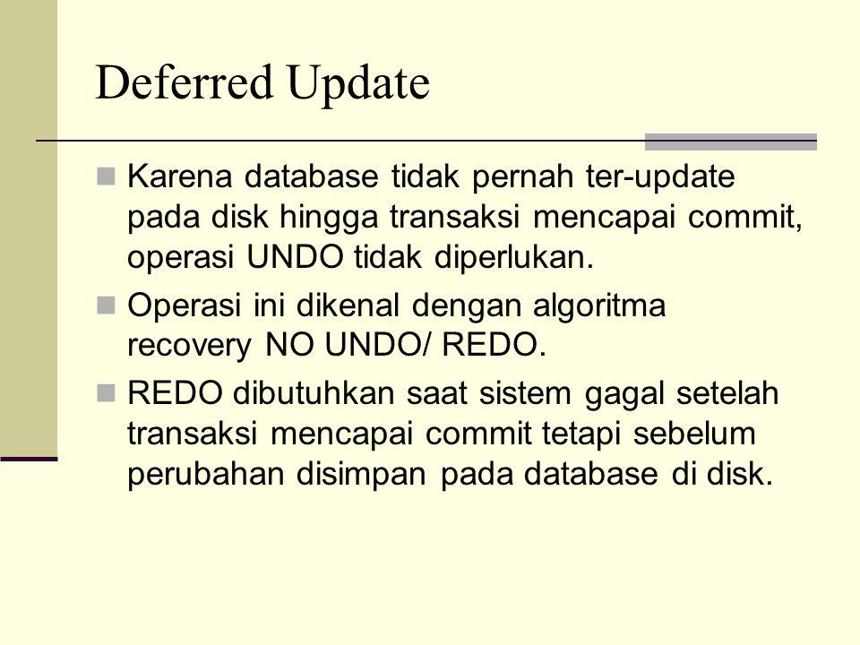 Deferred Update Karena database tidak pernah ter-update pada disk hingga transaksi mencapai commit, operasi UNDO tidak diperlukan. Operasi ini dikenal