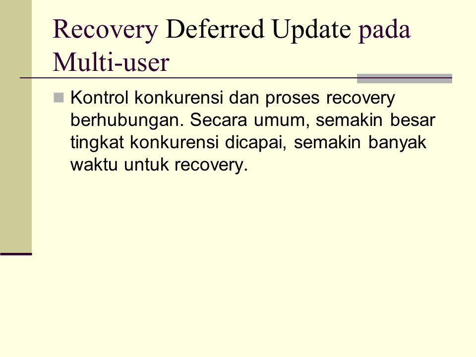 Recovery Deferred Update pada Multi-user Kontrol konkurensi dan proses recovery berhubungan. Secara umum, semakin besar tingkat konkurensi dicapai, se