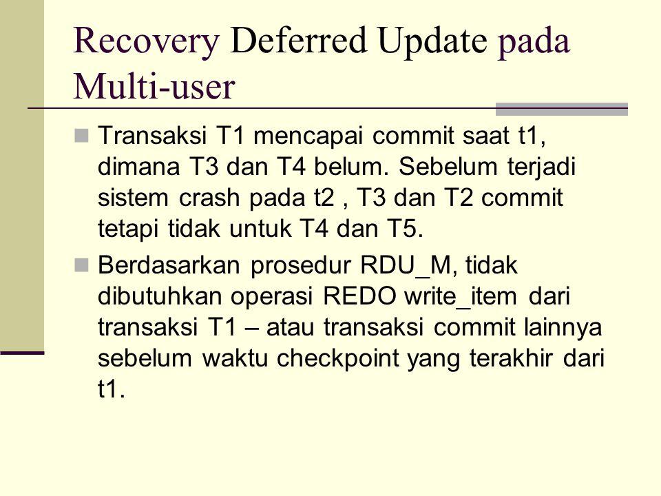 Transaksi T1 mencapai commit saat t1, dimana T3 dan T4 belum. Sebelum terjadi sistem crash pada t2, T3 dan T2 commit tetapi tidak untuk T4 dan T5. Ber