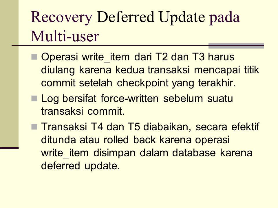 Recovery Deferred Update pada Multi-user Operasi write_item dari T2 dan T3 harus diulang karena kedua transaksi mencapai titik commit setelah checkpoi