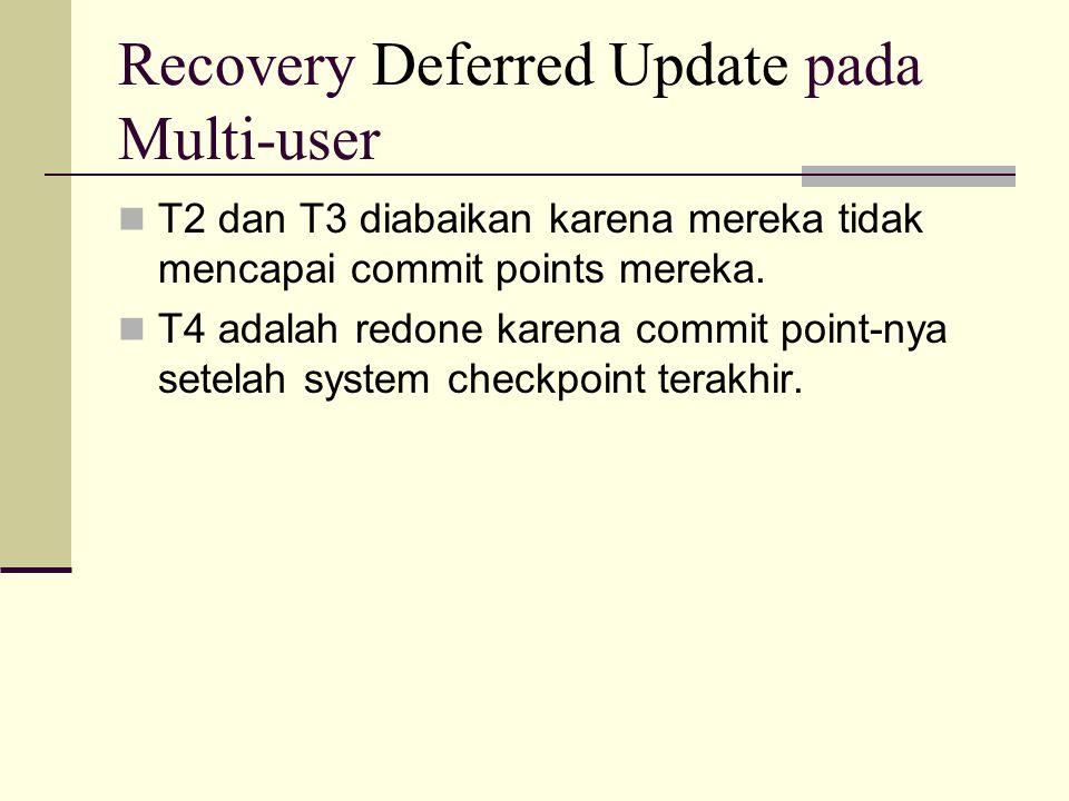 Recovery Deferred Update pada Multi-user T2 dan T3 diabaikan karena mereka tidak mencapai commit points mereka. T4 adalah redone karena commit point-n