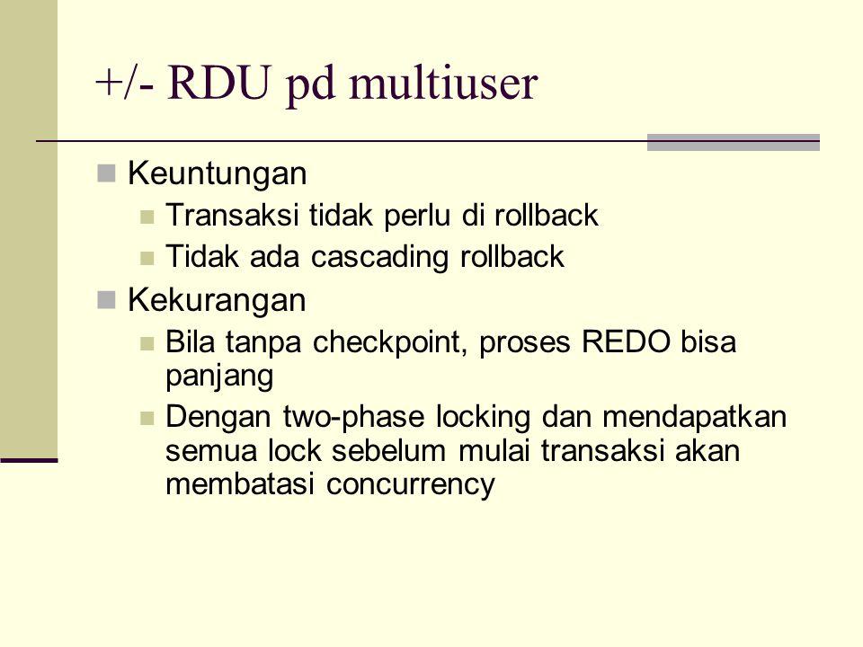 +/- RDU pd multiuser Keuntungan Transaksi tidak perlu di rollback Tidak ada cascading rollback Kekurangan Bila tanpa checkpoint, proses REDO bisa panj