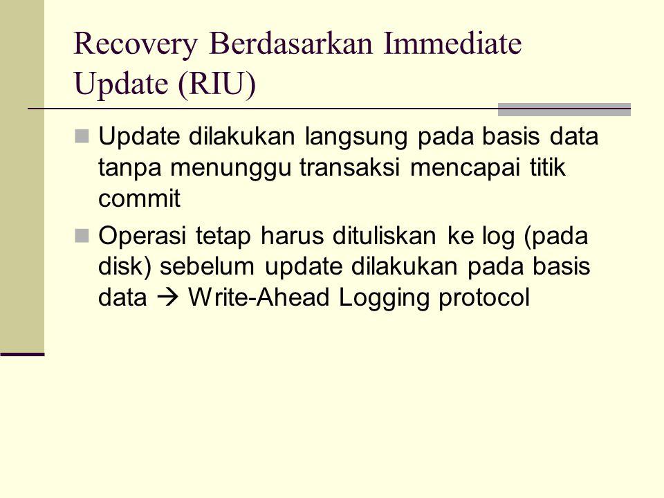 Recovery Berdasarkan Immediate Update (RIU) Update dilakukan langsung pada basis data tanpa menunggu transaksi mencapai titik commit Operasi tetap har