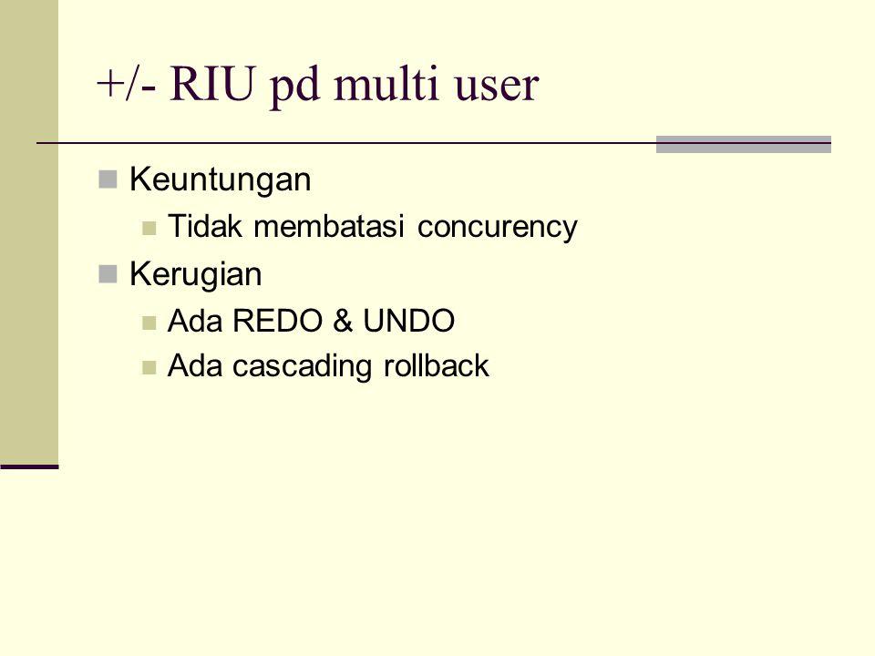 +/- RIU pd multi user Keuntungan Tidak membatasi concurency Kerugian Ada REDO & UNDO Ada cascading rollback