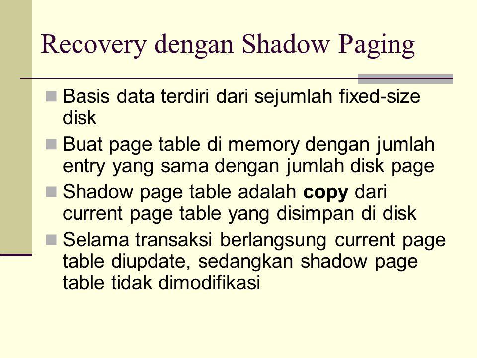 Recovery dengan Shadow Paging Basis data terdiri dari sejumlah fixed-size disk Buat page table di memory dengan jumlah entry yang sama dengan jumlah d