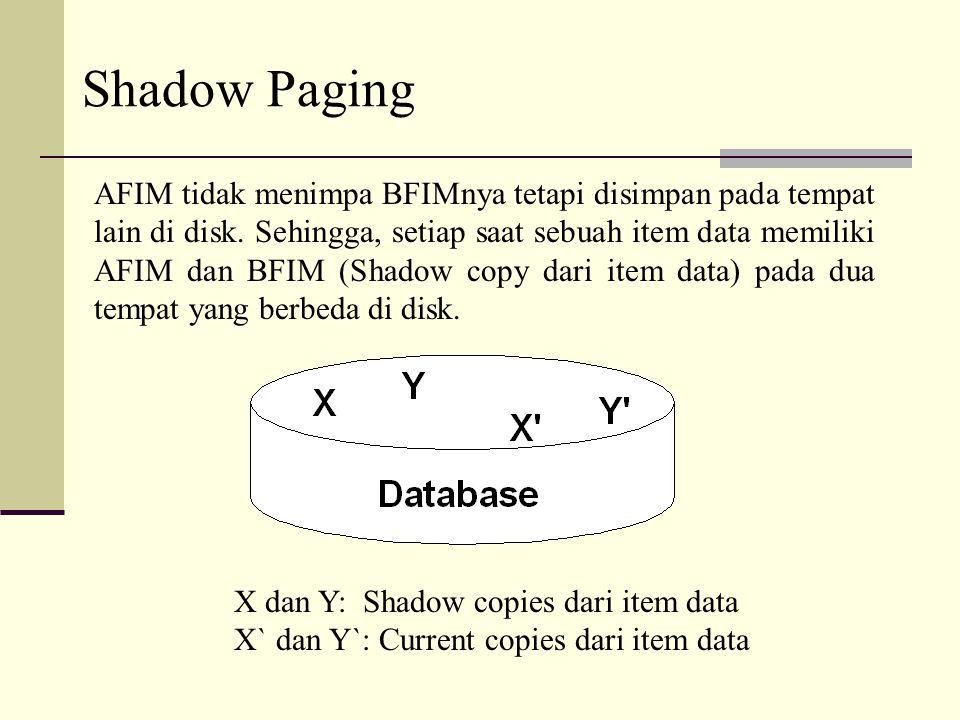 Shadow Paging AFIM tidak menimpa BFIMnya tetapi disimpan pada tempat lain di disk. Sehingga, setiap saat sebuah item data memiliki AFIM dan BFIM (Shad