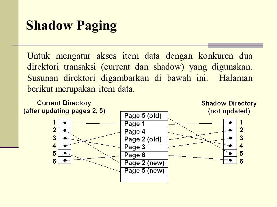 Shadow Paging Untuk mengatur akses item data dengan konkuren dua direktori transaksi (current dan shadow) yang digunakan. Susunan direktori digambarka