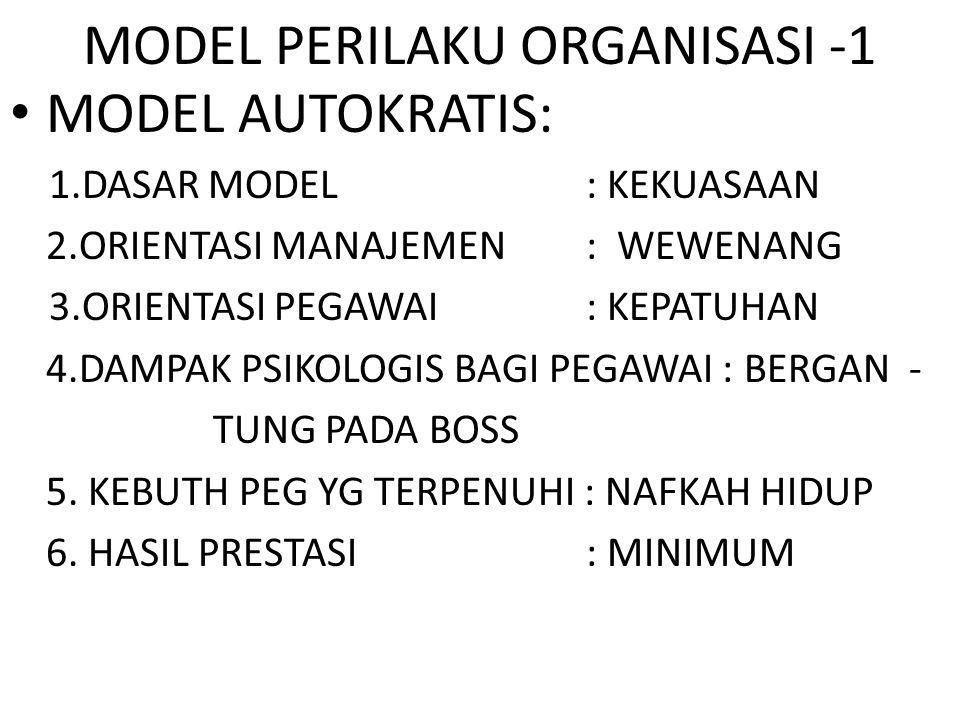 MODEL PERILAKU ORGANISASI -1 MODEL AUTOKRATIS: 1.DASAR MODEL : KEKUASAAN 2.ORIENTASI MANAJEMEN : WEWENANG 3.ORIENTASI PEGAWAI : KEPATUHAN 4.DAMPAK PSI