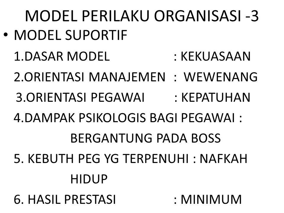 MODEL PERILAKU ORGANISASI -3 MODEL SUPORTIF 1.DASAR MODEL : KEKUASAAN 2.ORIENTASI MANAJEMEN : WEWENANG 3.ORIENTASI PEGAWAI : KEPATUHAN 4.DAMPAK PSIKOL