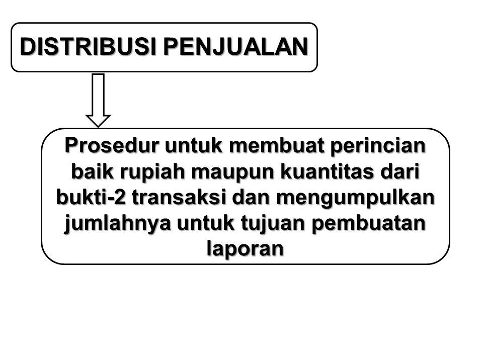 DISTRIBUSI PENJUALAN Prosedur untuk membuat perincian baik rupiah maupun kuantitas dari bukti-2 transaksi dan mengumpulkan jumlahnya untuk tujuan pemb