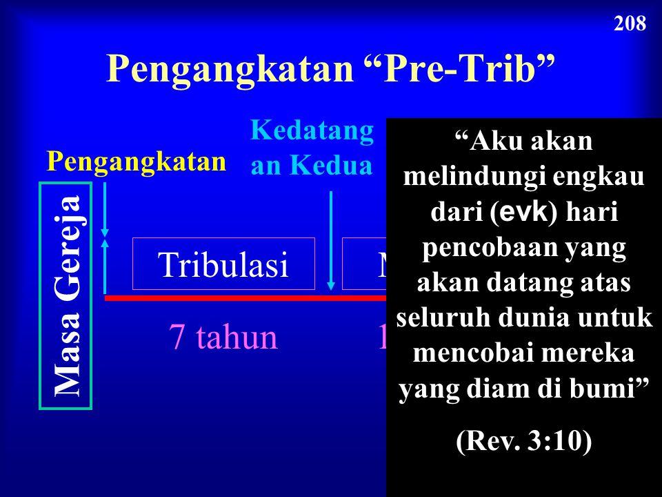 "Zaman Gereja Kedatangan Kedua Pengangkatan Tribulasi 7 tahun Milenium 1000 tahun Kerajaan Kekal Penghakiman Pengangkatan ""Pre-Trib"" 208"