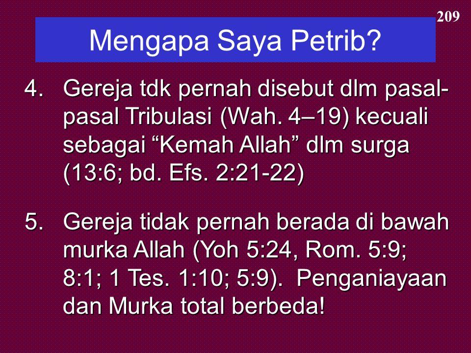"""Mengapa Saya Pretrib? 1.Orang-orang percaya akan dilindungi dari () """"hari"""" atau periode ini (Rev. 3:10) 1.Orang-orang percaya akan dilindungi dari (ev"""