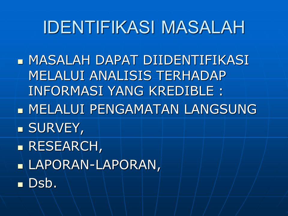 IDENTIFIKASI MASALAH MASALAH DAPAT DIIDENTIFIKASI MELALUI ANALISIS TERHADAP INFORMASI YANG KREDIBLE : MASALAH DAPAT DIIDENTIFIKASI MELALUI ANALISIS TE