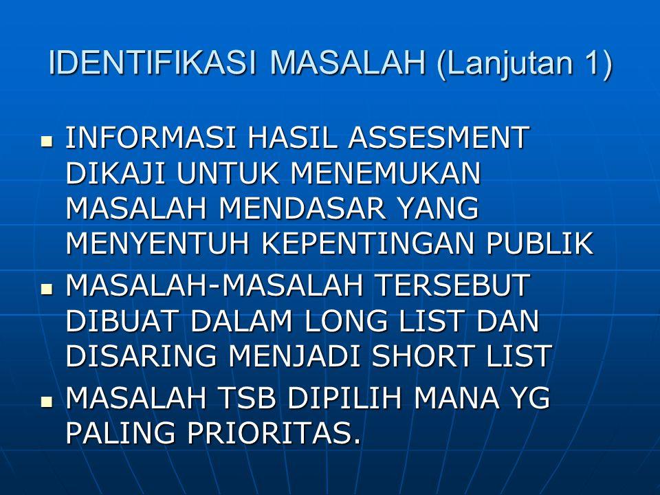IDENTIFIKASI MASALAH (Lanjutan 1) INFORMASI HASIL ASSESMENT DIKAJI UNTUK MENEMUKAN MASALAH MENDASAR YANG MENYENTUH KEPENTINGAN PUBLIK INFORMASI HASIL