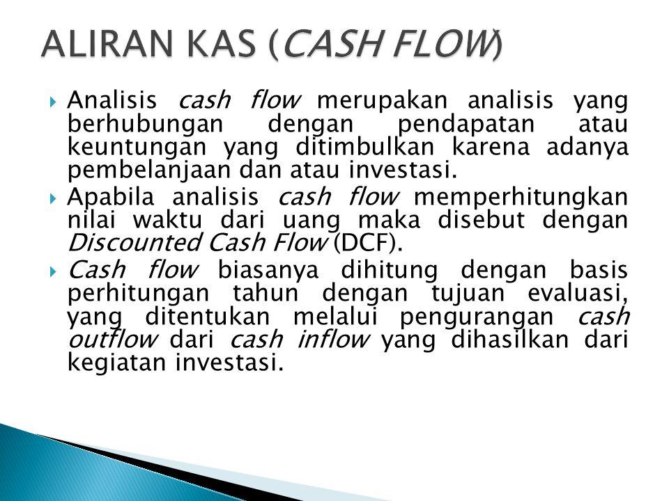  Analisis cash flow merupakan analisis yang berhubungan dengan pendapatan atau keuntungan yang ditimbulkan karena adanya pembelanjaan dan atau investasi.
