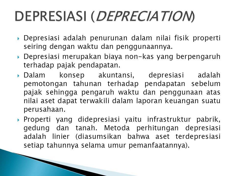  Depresiasi adalah penurunan dalam nilai fisik properti seiring dengan waktu dan penggunaannya.