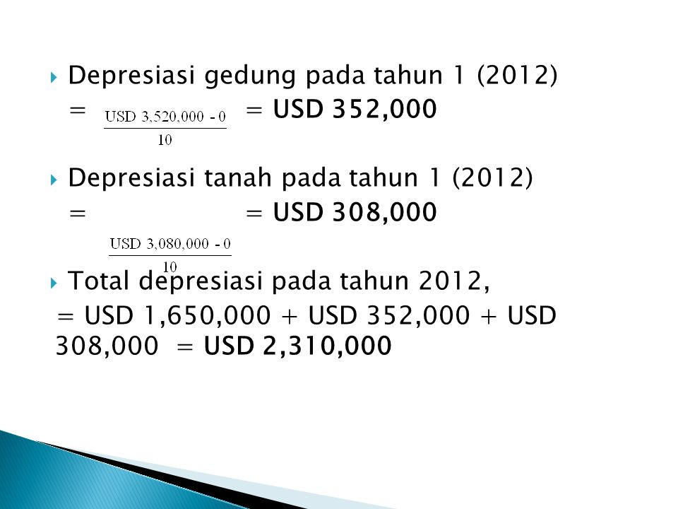  Depresiasi gedung pada tahun 1 (2012) = = USD 352,000  Depresiasi tanah pada tahun 1 (2012) = = USD 308,000  Total depresiasi pada tahun 2012, = USD 1,650,000 + USD 352,000 + USD 308,000 = USD 2,310,000