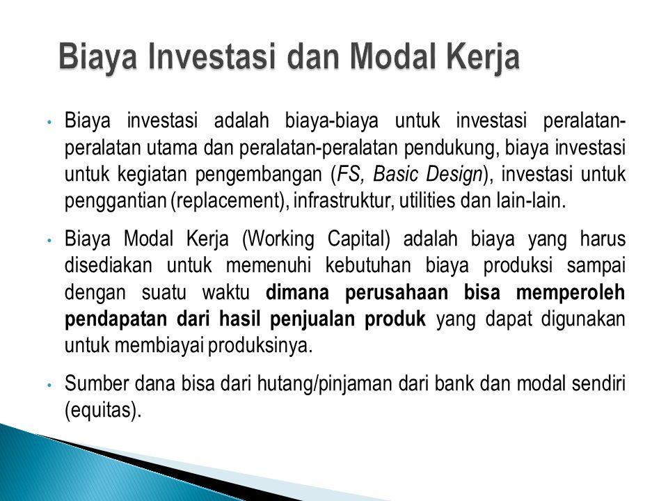 Biaya investasi adalah biaya-biaya untuk investasi peralatan- peralatan utama dan peralatan-peralatan pendukung, biaya investasi untuk kegiatan pengembangan ( FS, Basic Design ), investasi untuk penggantian (replacement), infrastruktur, utilities dan lain-lain.