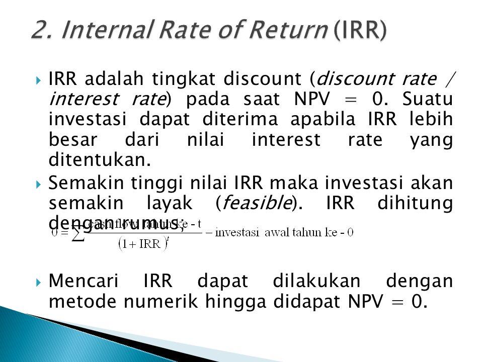  IRR adalah tingkat discount (discount rate / interest rate) pada saat NPV = 0.