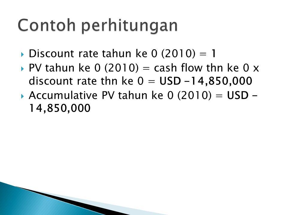  Discount rate tahun ke 0 (2010) = 1  PV tahun ke 0 (2010) = cash flow thn ke 0 x discount rate thn ke 0 = USD -14,850,000  Accumulative PV tahun ke 0 (2010) = USD - 14,850,000