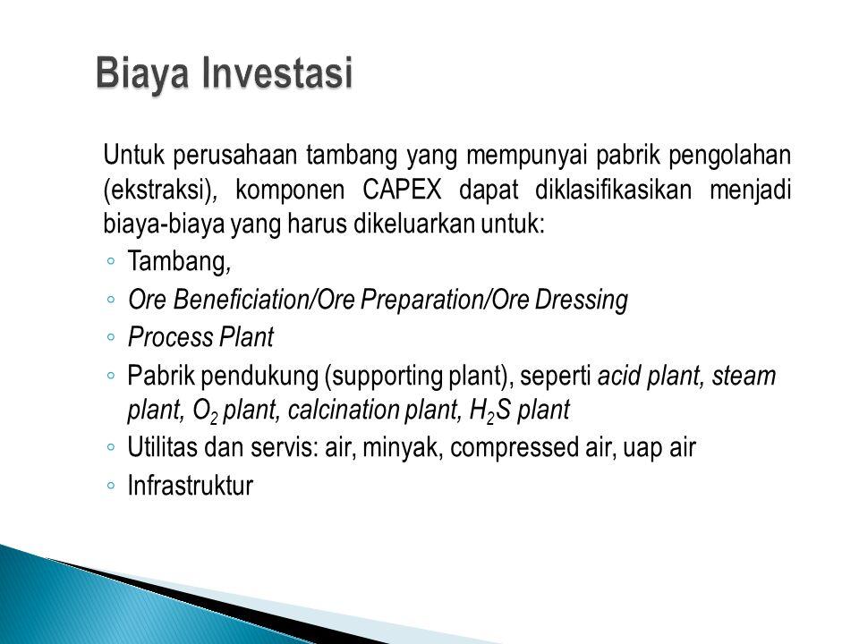 Untuk perusahaan tambang yang mempunyai pabrik pengolahan (ekstraksi), komponen CAPEX dapat diklasifikasikan menjadi biaya-biaya yang harus dikeluarkan untuk: ◦ Tambang, ◦ Ore Beneficiation/Ore Preparation/Ore Dressing ◦ Process Plant ◦ Pabrik pendukung (supporting plant), seperti acid plant, steam plant, O 2 plant, calcination plant, H 2 S plant ◦ Utilitas dan servis: air, minyak, compressed air, uap air ◦ Infrastruktur
