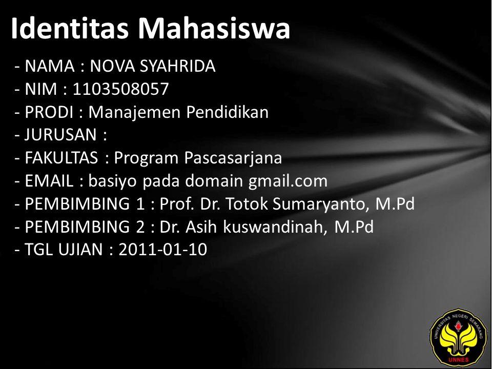 Identitas Mahasiswa - NAMA : NOVA SYAHRIDA - NIM : 1103508057 - PRODI : Manajemen Pendidikan - JURUSAN : - FAKULTAS : Program Pascasarjana - EMAIL : basiyo pada domain gmail.com - PEMBIMBING 1 : Prof.