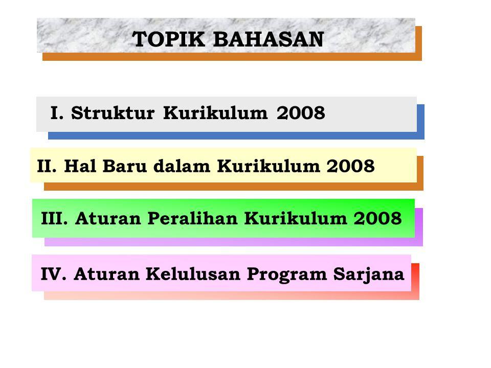 I. Struktur Kurikulum 2008 II. Hal Baru dalam Kurikulum 2008 III. Aturan Peralihan Kurikulum 2008 IV. Aturan Kelulusan Program Sarjana TOPIK BAHASAN