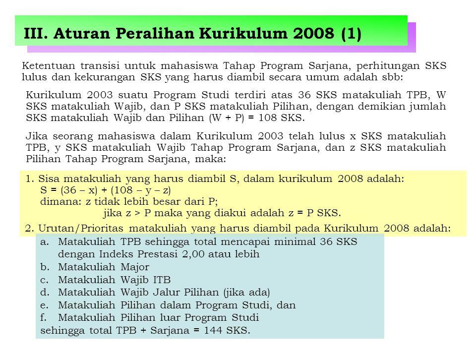 III. Aturan Peralihan Kurikulum 2008 (1) Ketentuan transisi untuk mahasiswa Tahap Program Sarjana, perhitungan SKS lulus dan kekurangan SKS yang harus